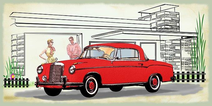 Isolated, Mercedes Benz, 220 Coupé, 1956, Historically