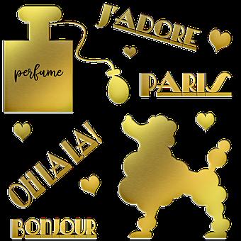 Gold Foil French Words, Poodle, Paris, Perfume