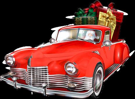 Christmas Car, Santa Claus, Presents, Gifts, Christmas