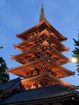 Temple, Japan, Red, Senso-Ji, Tokyo