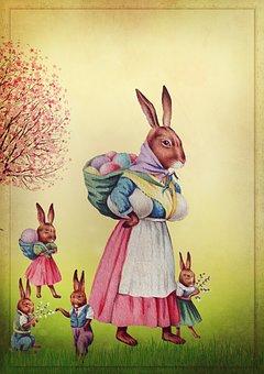 Osterkarte, Easter, Vintage, Easter Bunny, Family