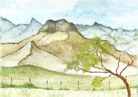 Landscape, Daylight, Bright, Watercolor, Mountain