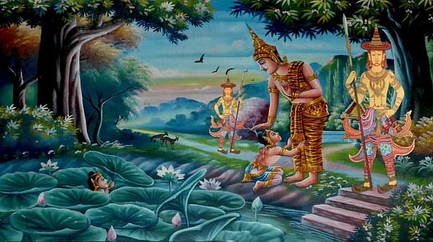 Buddha, Guards, Swimming, Drowning, Asia
