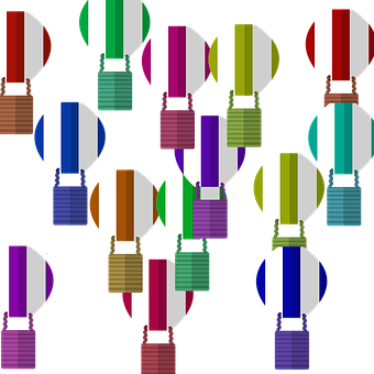Balloons, Colorful Balloons, Illustrated Balloons