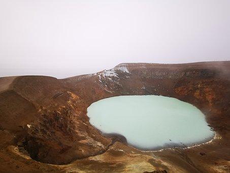 Iceland, Askja, Volcano, Crater, Lake