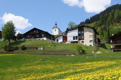 Spring, Bergdorf, Chapel, Graubünden