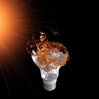 Lamp, Orange Light, Bulb, Fire, Outbreak, Flame, Ignite