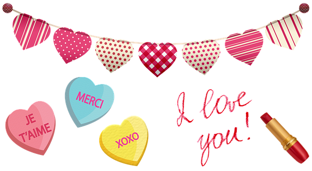 Valentine Clip Art, Hearts, Candy, Love, Romance