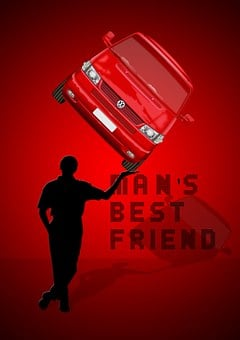 Man, Auto, Strong, Force, Silhouette, Vw, Presentation