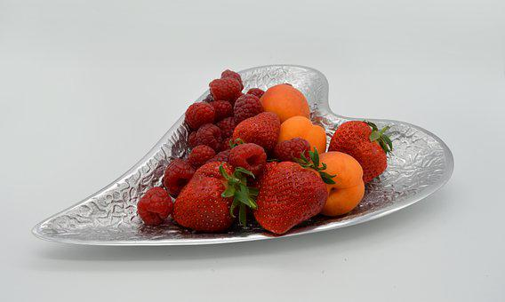 Fruit Bowl, Fruit Plate, Fruits, Plate Of Heart-shaped