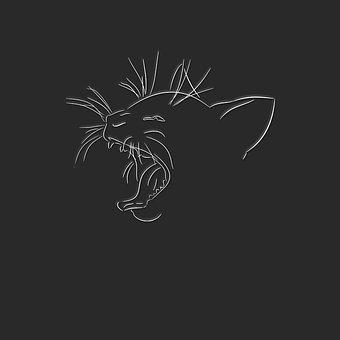 Art, Desktop, Silhouette, Chalk Out, Cat, Line Drawing