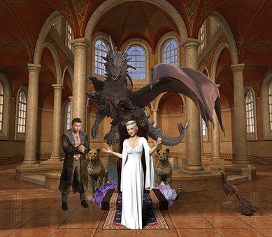 Background, Screen, Women, Queen, Dragon, Castle