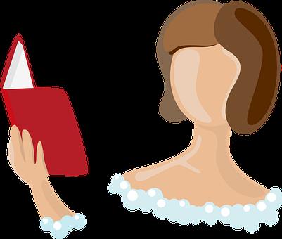 Book, Reading, Bathtub, Water, Bubble, Woman, Girl