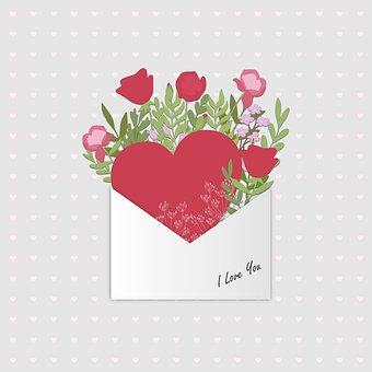 Letter, Heart, Flowers, Love, Romance