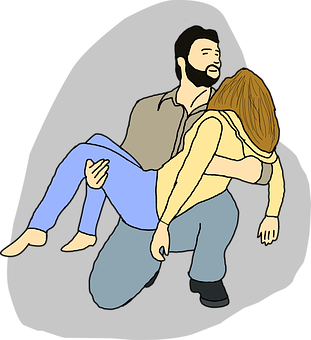 Woman, Man, Police, Holding, Wife, Husband, Sickness