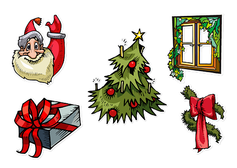 Christmas, Collage, Santa, Window, Pane, Tree, Garland