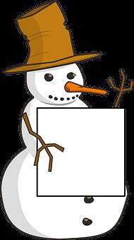 Snowman, Snow, Winter, Poster, Placard, Notice, Blank