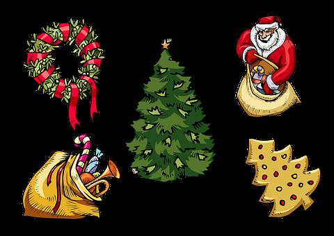 Christmas, Collage, Santa, Tree, Garland, Present, Gift