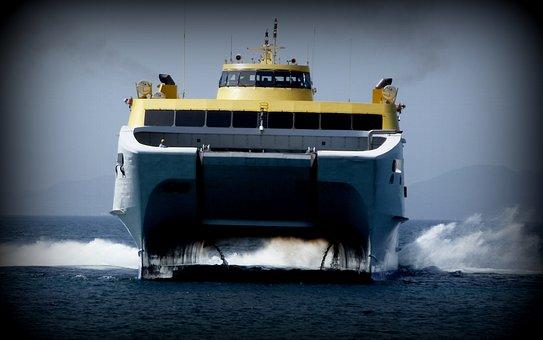 Fred Olson, Catamaran, Ferry, Ship, Sea, Waves Rapidly