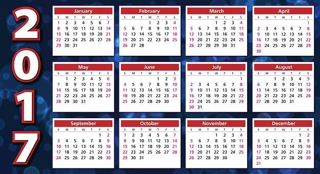 Calendar, 2017, Agenda, Schedule, Plan, Weeks, Months