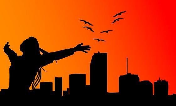 Freedom, Woman, Silhouette, Joy