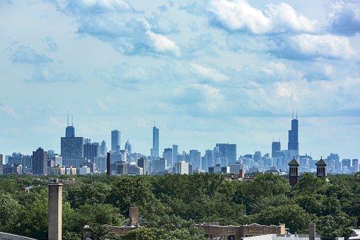 Chicago, Skyline, Evanston, City, Architecture, Tower