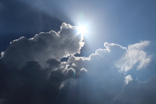 Sun, Cloud, Emerge, Sky, Blue, Sunlight, Sun Rays