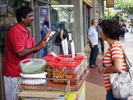 Seller, Buying, Singapore, Kacang Puteh, Indian, Nuts