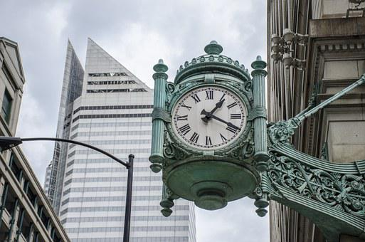 Clock, Time, City, Building, Antique, Old, Business