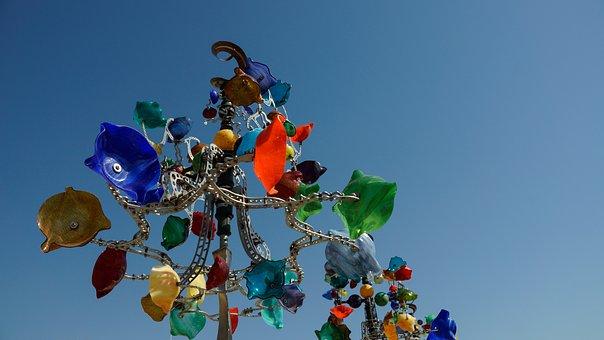 Art, Sculpture, Tree, Glass, Colour, Colourful