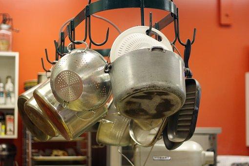Kitchen, Commercial, Pots, Pan, Colander, Industry