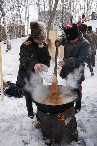 Carnival, Folk Festival, Cooking Pilaf, Winter, Siberia
