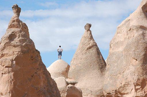 Turkey, Fairy Chimney, Cappadocia, Rock, Form, Man