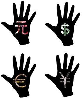 Hand, Dollar, Yen, Euro, Yuan, Cash, Money, Exchange