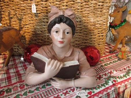 Housewife, Read, Business, Fig, Bust, Decorative