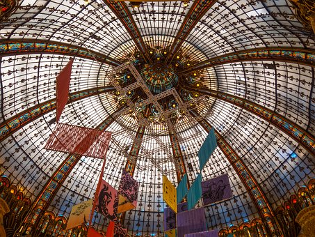 Ceiling, Galleries, Lafayette, Mall, Glass, Structure