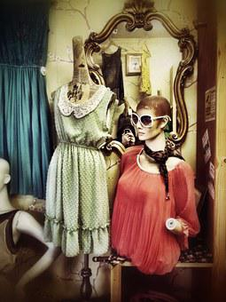Mannequin, Window, Glasses, Dress, Business, Table