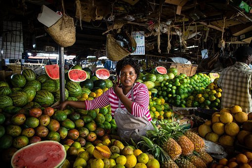 Nairobi, Kenya, Woman, Market, Water Melons, Pineapples