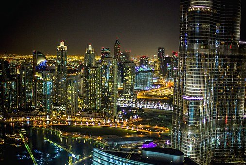 City, Dubai, Night, Hotel, Architecture, Cityscape