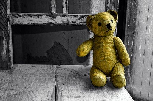 Old, Teddy Bear, Bear, Toy, Child, Hiding, Alone