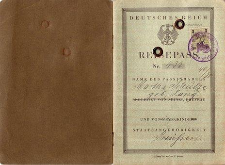 Passport, German Empire, Vintage, 1930, Retro