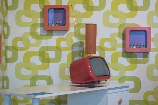 Living Room, Cult, 70s, Wallpaper, Retro, Form, Texture