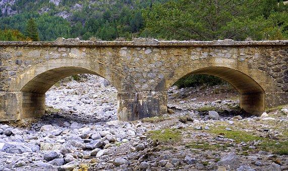 Old Bridge, Dry Torrent, Stones, River Bed, Rocks