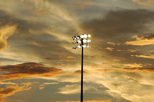 Baseball, Stadium, Lights, Sunset, Field, Sports, Team