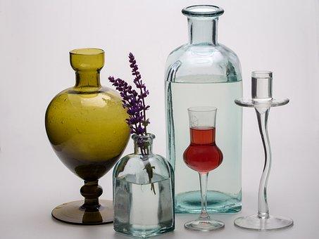 Still Life, Bottles, Flowers, Glass, Form, Vase
