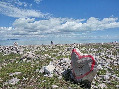 Qinghai Lake, Dark Horse Township, West Town, Stone