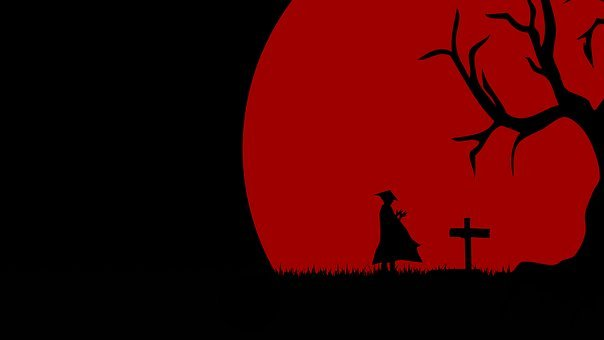 Man, Rave, Red, Moon, Tree, Cross, Wallpaper, Landscape