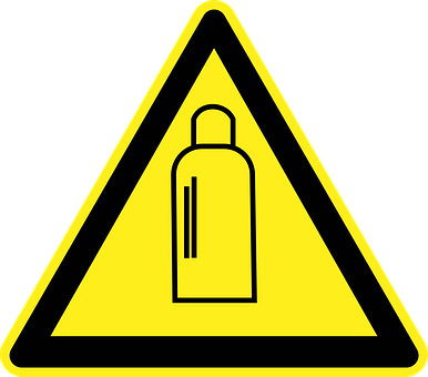 High Pressure, Gas Bottle, Danger, Warning, Yellow