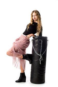 Girl, Model, Punching Bag, High Fashion, Style