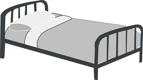 Bed, Metal, Motel, Pillow, Gray, Hotel